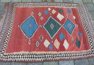 Funky Qashqai Kilim, 230 x 157/150 cms., with some minor repairs. All natural dyes and also a stroke of 30 cms. with probably a synth. pink one: only there some color run  ...