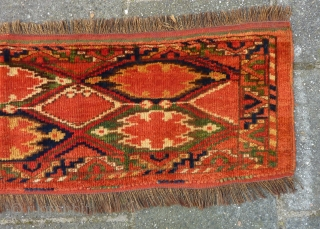 Ersari Beshir Torba, 32 x 118 cm. Full pile, no repairs, all natural dyes.