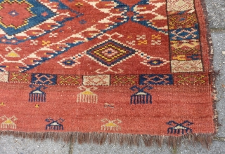 Ersari Turkmen Chuval, 70 x 121 cm. Good pile and with all natural dyes. Endings secured. A small repair at the top end.