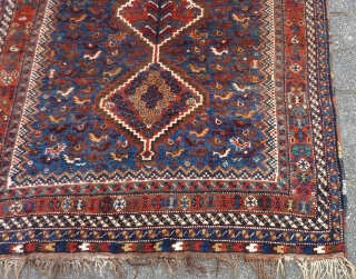 "Qashqai small rug, 155  x 115 cm., 5'1"" x 3'9"". Very good, complete condition and good pile. A bit lower pile at two places, see last three picts. Supple handle and  ..."