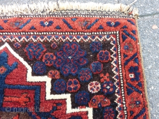 Kurdish Bag front 58  x 63 cm. Corroded browns and some local loss of pile ( see last picture ). Natural dyes and a faded purple in scattered details ( see  ...