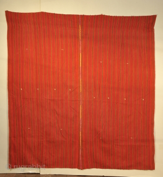 Textile used as cape for a life size Saint - San Jorge in this case   Bought from village priest after devastating earthquake in Guatemala, February 1976.  Priest sold items  ...