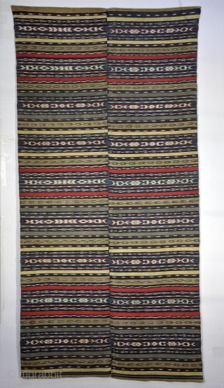 Perraje - Totonicapan , Guatemala.  Very fine 2 piece backstrap woven piece hand joined in middle Cotton - including naturally occurring brown cotton, and yellow and se foam green natural dyed cotton  ...