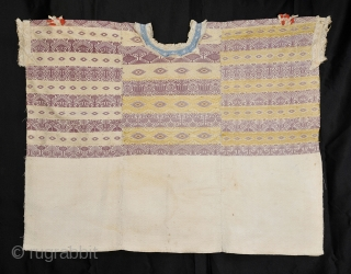 Ceremonial - Cofradia - Huipil from San Pedro Sanatepequez -San Marcos in Western Highlands of Guatemala.  Possible murex dyed purple - gold tone silk brocade threads - Very well done hand-tatted lace  ...