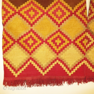 Great condition Chancay Culture Ponchito from N.Coastal Peru.  Old San Francisco collection in naturally occurring as well as natural dyed alpaca yarns.  Circa 1100 AD.