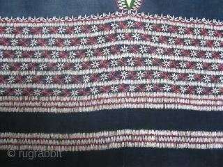 Pwo Karen Blouse - Myanmar  Indigo cotton, cotton embroidery, applied Job's Tears seeds.  Good example of Karen blouse from around 1950