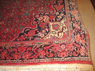 "Bidjar Persian Oriental Rug  #7952  This circa 1930 antique Bidjar Persian Oriental Rug measures 4'6"" X 6'8"". It is wool on cotton Bidjar with a pulled center medallion in indigo and ivory  ..."