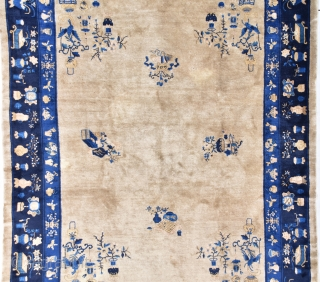 """#7726 Antique Peking Chinese Rug  This circa 1900 Antique Peking Chinese Oriental Rug measures 9'2"""" x 11'7"""" (280 x 356 cm). It has a very nice café au lait field with scattered  ..."""