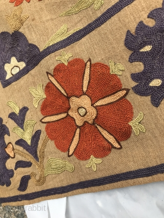 """Late 18th/Early 19th C. Ottoman Embroidery  Repeat of six flower and leaf spray with plant and stem. 5"""" border of flower and leaf. All hand embroidered chain stitch overall. Six colors of: orange,  ..."""