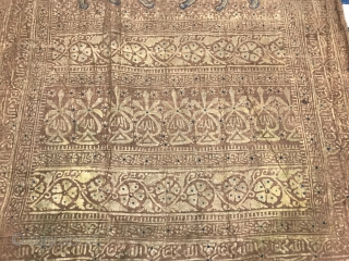 19th Century India Gold Block Print Textile.