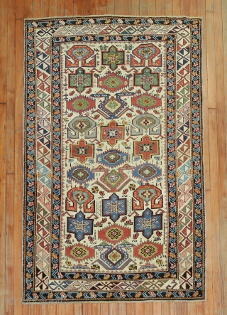 An Antique Decorative Kuba.  4'1''x5'6''.  Excellent original condition.