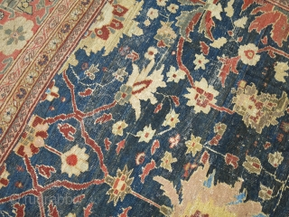 Antique Persian Sultanabad 12'2''x15'7''.  Untouched.  Scattered worn areas that are minor.  Entire inventory online at www.rugsrusonline.com