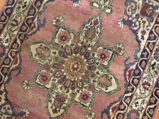 Antique Lavar Kerman.  Has some low areas more towards center.  Measures 3'3''x4'8''