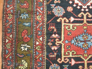 Antique Persian Heriz Runner 3'4''x10'8''.  Handsome colors including a army green border and a navy/black field.  Excellent condition.  Very minor wear.