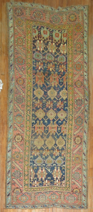 Antique repair worthy veramin?  Or kurdish?  4'3''x9'8''.  Worn here and there.