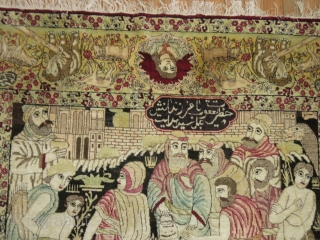 Antique Biblical Lavar Kerman.  Depicting the Story of Joseph and the 12 tribes.  Measiring 4'8''x7'9'' Excellent condition.  Was used as wall hanging.