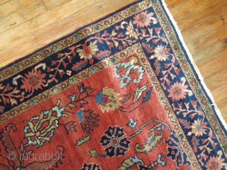 Antique Sarouk MOhajeran 4'3''x7'.  Excellent condition.  ONly one end partially missing.  Untouched condition.  Rare size and design.