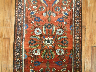 Jazzy Sarouk Lanky Size 2'x4'6''.  Lovely wool..  COndition is pretty good.  Some low areas.  Ends missing teeth border.