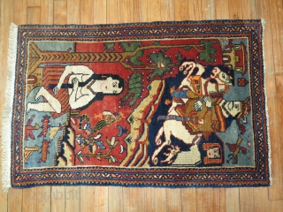 Antique Persian Lilihan 2'3''x3'5''.  Full pile.