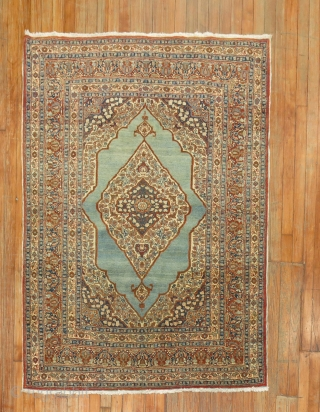 Antique Tabriz 4'3''x5'7'' with a sky blue field.  All orignal and excellent.