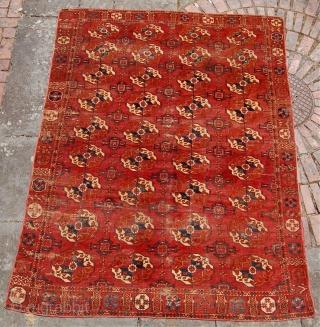 Tekke main carpet.Circa 1800. 239 x 183 cm.