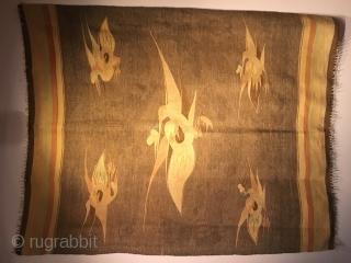 Mongolian Chinese flat weave. Monguor 'of Mongolian Uyghur descent' 4.5 f x 5.5 feet. see : https://www.pinterest.co.uk/Rugrabbi/antique-mongolian-chinese-monguor-or-korian-flat-w/