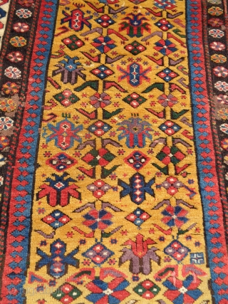 """Nice old Caucasian rug missing outer border. Some obvious reweaves, the rest is honest fine weave with great colors and wool. 3'1"""" x 4'9"""""""