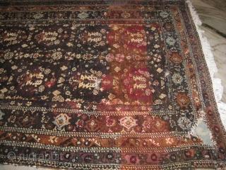 19th century Agra carpet needs repair measuring 12 x 6 ft.
