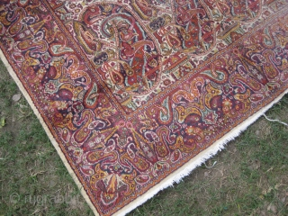 An extremely fine Large Boteh carpet, worn out areas, size: 10 x 8 ft.