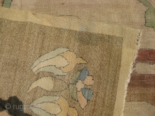 Unusual Large 15.2 x 11.8 feet Art-Deco carpet with interesting field design, has wear areas and needs repair.