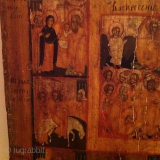Antique Orthodox Christian Icon. Cyrilic writing, Russian? 50cmx41cm