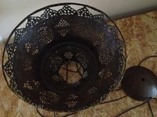 19th century copper/brass Pierced lamp cower 27cmx20cm