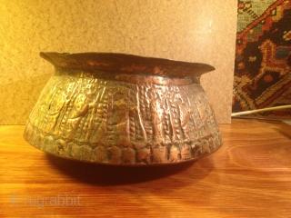 Persian  bowl Engraved hakhamaneshi design 20cmx10cm