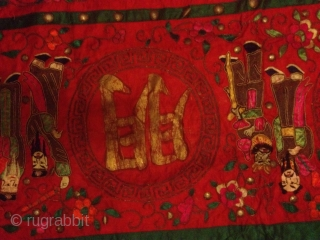 Antique china silk needle work 215cmx57cm