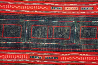 Hmong Indigo resitdyed, aplliqued and embroidered Panel