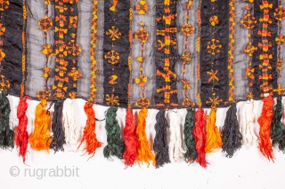Siwa Shawl,Egypt silk embroidery on voile silk 77 x 131 cm / 30 x 51 inches