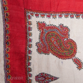 Antique Kerman Small Embroidery with a European Paisley Print backing