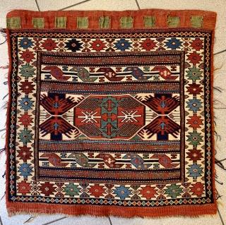 Antique Shahsavan bagface with glowing colors, 60x60cm