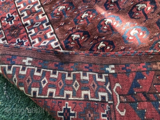 Antique, Turkmen Ensi Rug Size.165 X90cm. sewn, missing a piece in the middle