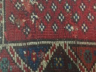 19.Jahrhundert Sattelteppich , Schabrake Anatolien  19th century saddle cover , pelmet Anatolian  Size 110 cm x 97 cm  Purple and red and violet wefts