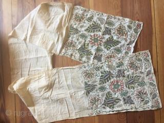 18th century Ottoman Empire sash,silk and metal thread embroidery on linen very good condition original selvedge silk  European territories Mazedonian  18o cm x 27 cm