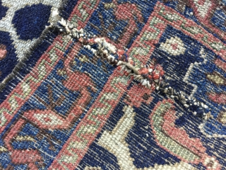 """3' 0"""" x 4' 0"""" N.W.Persian in overall low to medium pile condition.  A small tear near one corner; the ends are uneven.  Quote includes shipping/U.S.   3 day  ..."""