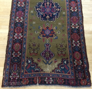 "Archaic 3' 10"" - 4' 2"" x 17' 10"" Karabagh with wear and a tear.   Quote includes shipping/U.S.  3 day returns"