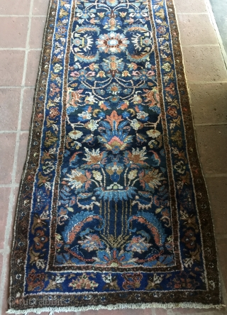 "Narrow and Long 2' 7"" x 17' 7"" Finer Hamedan in Excellent Condition.  3 Day Returns/Quote includes shipping U.S.A."