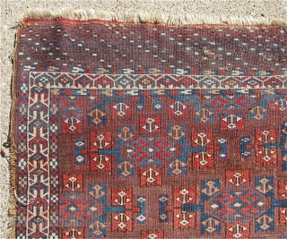 "3' 9"" x 5' 2"" Yomud with a rarer Kepse Gul format for the smaller Turkmen ""dowry"" rugs.  Free Ship U.S.  3 day returns policy.  Sorry, no direct overseas  ..."