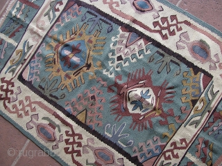 """3' 5"""" x 4' 10"""" European Kilim; needs to be cleaned.  3 day returns/shipping included in quote/U.S.A."""