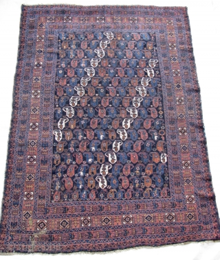 "5' 0"" x 6' 9"" Afshar    Small area at bottom left has expert repiling, but faded on front side.  Quote includes shipping/U.S."