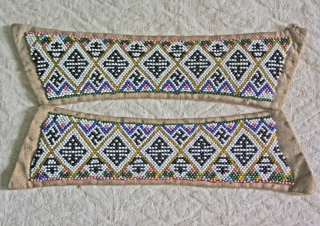Late Qing Dynasty 3 pairs of beaded strips for women's shoes... During the late Qing and early Republic periods, footbinding in urban centers became less common. But women were still concerned with fashionable  ...