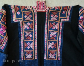 """Made by a women of the Miao minority often referred to as the """"tiny Miao"""" ...not because of their stature but because they were recognized for their """"tiny"""" embroidery stitches... This jacket  ..."""