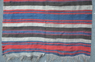 Two row's antique NW Persian Kilim (Shasevan?) 19th C. Great colors, 104 x 308 cm